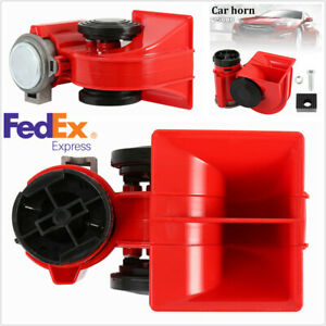 12v 150db Red Dual Super Tone Air Horn Electric Siren For Car Vehicle Motorcycle
