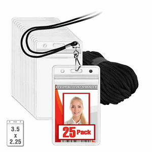 Mifflin Lanyard W Clear Vertical 3 5x2 25 Waterproof Id Name Badge Holder Sets