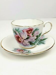 Vintage Rare Purple Orchid Tea Cup Saucer Made In England Fine Bone China