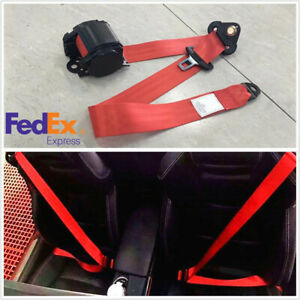 Retractable 3 Point Car Safety Seat Lap Belt Kit Red Adjustable Lenght Us Stock