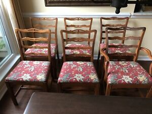 Six Vintage Ladder Back Style Dining Chairs With Upholstered Seats