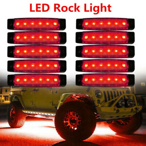 8x 3 8 Red Led Rock Light For Jeep Atv Off Road Underbody Lights Surface Mount