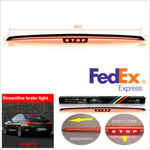 12v 9w 90cm Led Car Truck Brake Stop Light Strobe Bar Rear Windshield Tail Lamp