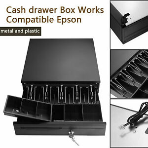 Heavy Duty Electronic Cash Drawer Box Case Storage 5 Bill coin Trays Check L7f0