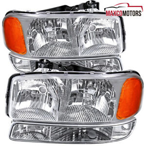 For 1999 2006 Gmc Sierra 1500 Yukon Xl 1500 Denali Headlights W Bumper Lamps