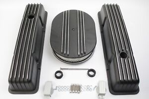58 86 Sbc Chevy 350 Black Aluminum Tall Retro Finned Valve Covers 12 Air Cleaner