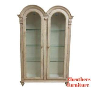 Bernhardt Paint Decorated Camel Hump Curio Crystal Cabinet Breakfront Hutch