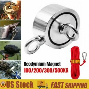 Super Strong Neodymium Fishing Magnet 1100lb Round Double Sided Pulling Force Us