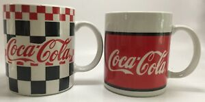 Lot Of 2 Vintage 1996 Coca Cola Coffee Mugs Cups Gibson 16 oz