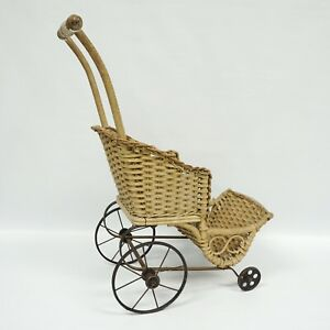 Antique Baby Doll Stroller Vintage Wicker Wooden Carriage Buggy Small Doll Buggy