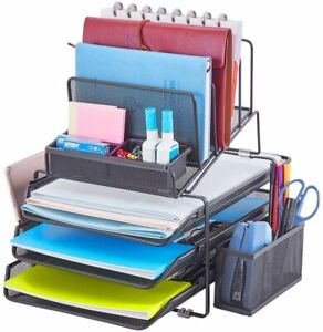 Designa Stackable Mesh Desk Organizer With 3 Sliding Letter Tray Drawers