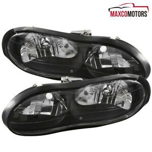 For 98 02 Chevy Camaro Z28 Black Headlights Pair Left right 99 00 01