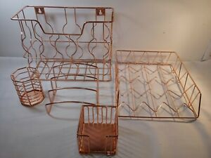 Rose Gold Office Supplies 5 In 1 Desk Organizer Set Includes Hanging W