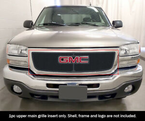 Fits 2003 2006 Gmc Sierra 1500 2500 07 Classic Upper Stainless Black Mesh Grille