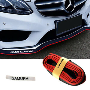 Universal 8ft Black Red Rubber Front Bumper Lip Spoiler Splitter Chin Trim Kit