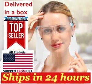 10set Face Shield Guard Mask Safety Protection With Glasses Reusable Usa Seller