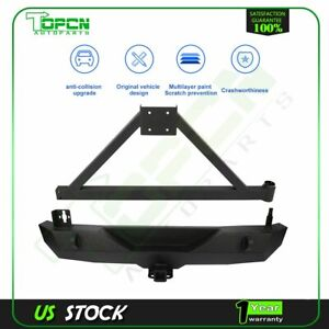 Fits For Jeep Wrangler 07 18 Jk Black Rear Bumper With Tire Carrier