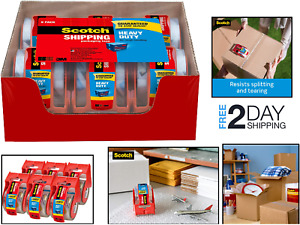 6 Pack Packaging Box Tape Roll With Dispenser Heavy Duty Durable For Shipping