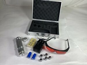 Very High Powered Blue 450 Nm Handheld Rechargeable Laser Silver W Tips