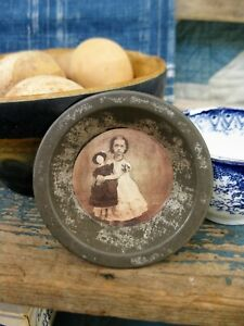 Antique Tin Toy Pie Pan With Old Photo Print Girl W Doll