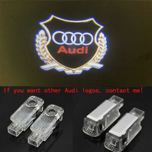 2x Led Car Door Gold Hd Logo Courtesy Projector Ghost Laser Light For Audi All