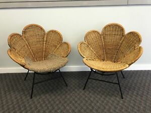 Vintage Rattan Flower Chair Pair Mid Century Modern Peacock Boho Chic Wicker 50s