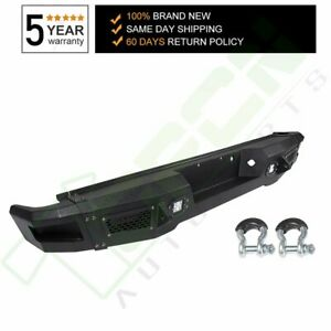 Rear Steel Step Bumper Assembly For 2009 2014 Ford F150 Black With Led Light