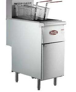 Liquid Propane Commercial Restaurant Stainless Steel Floor Deep Fryer 40 Lb