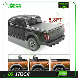 Tonneau Cover Fits For 15 18 Chevrolet Silverado 1500 Soft 4 Fold 5 8 Short Bed