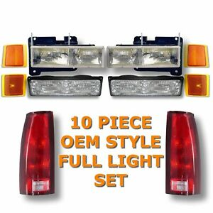94 98 Chevy Pickup Truck Headlights Park Lights Tail Lights 10 piece Kit Set