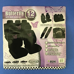 12 Piece Purple Flying Butterfly Front Back Car Seat Cover Steering Wheel