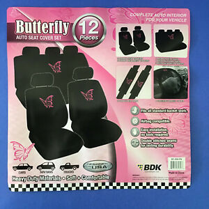 12 Piece Set Pink Butterfly Car Front Rear Seat Covers Steering Wheel Cover