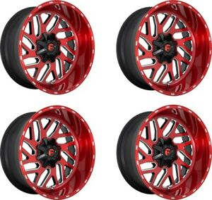 Set 4 22 Fuel D691 Triton 22x12 Candy Red Milled 8x170 Wheels 43mm Truck Rims