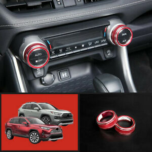 For 2019 2020 Toyota Rav4 Red Interior Air Conditioning Button Ring Cover Trim