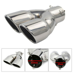 Stainless Steel Car Universal Muffler Dual Outlet Exhaust Tip End Tail Pipe 63mm