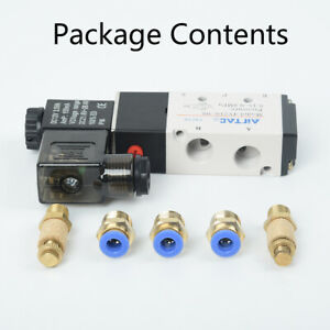 Dc 12v Pneumatic 5 way 2 position Electric Air Solenoid Valve Brass 1 8 bspt