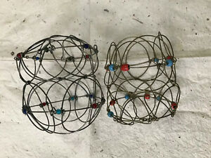 2 Vintage Collapsible Wire Glass Bead Small Egg Basket