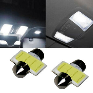 2x Car Suv White Cob Led License Plate Lights Domestic Festoon Reading Lamps P