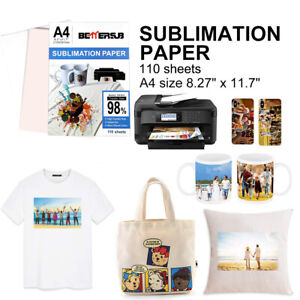 110 Sheets A4 Dye Sublimation Heat Transfer Paper Iron On Mugs Cotton Polyester