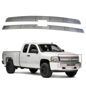 Billet Grille Insert Aviation Aluminum Chrome For 2007 2013 Chevy Silverado 1500