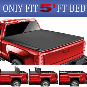 Truck Bed 5ft 3 Fold For 15 19 Gmc Canyon Chevy Colorado Tonneau Cover Soft Led