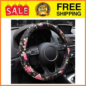 Limited Pu Leather Floral Auto Car Steering Wheel Cover for Women Girls