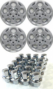 4 2011 Ford Fusion 17 Silver Hubcaps With Twenty 20 Locking Lugnuts