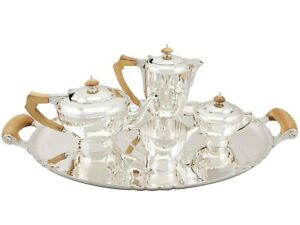 Vintage George Vi Sterling Silver Four Piece Tea And Coffee Service With Tray