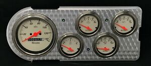 1948 1949 1950 Ford Truck 5 Gauge Dash Panel Insert Engine Turned Shark
