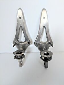 Vintage Industrial Pair Brass Nickel Wall Sconces Candle Holders Home Decor 11