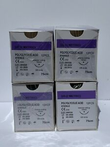 Veterinary Surgical Suture 3 0 Pga 4 Boxes 12 box Polyglycolic Acid 19mm