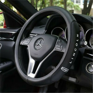 New 38cm Car Steering Wheel Cover For Lincoln Logo Black Genuine Leather Nice