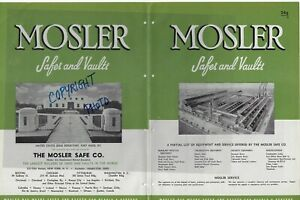 1945 Mosler Safe Co Safes And Vaults Insulated Fire Resistant Doors Vtg Catalog