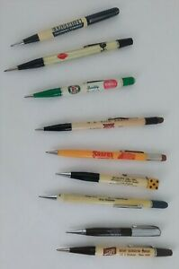 Vintage Mixed Lot Of 9 Twist Mechanical Pencils Awesome Advertising As Is